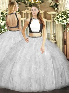 Edgy White Tulle Backless Halter Top Sleeveless Floor Length Quinceanera Gown Ruffles