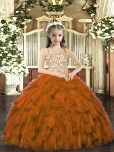 Floor Length Brown Girls Pageant Dresses Organza Sleeveless Beading and Ruffles