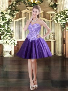 Chic Mini Length Lace Up Dress for Prom Purple for Prom and Party with Appliques
