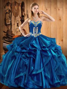 Superior Blue Organza Lace Up 15 Quinceanera Dress Sleeveless Floor Length Embroidery and Ruffles