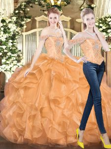 Luxury Orange Red Two Pieces Organza Off The Shoulder Sleeveless Beading and Ruffles Floor Length Lace Up Sweet 16 Dresses