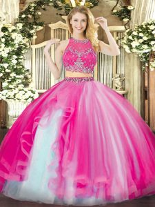 Ideal Ball Gowns Sweet 16 Quinceanera Dress Hot Pink Scoop Organza Sleeveless Floor Length Zipper