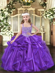 Purple Sleeveless Organza Lace Up Kids Pageant Dress for Party and Sweet 16 and Quinceanera and Wedding Party