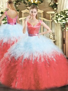 Multi-color Sleeveless Floor Length Ruffles Zipper Sweet 16 Dresses