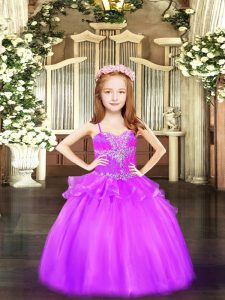 Most Popular Lilac Spaghetti Straps Lace Up Beading Pageant Gowns For Girls Sleeveless