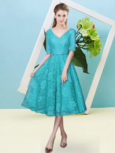 Cute Teal Lace Lace Up V-neck Half Sleeves Tea Length Quinceanera Dama Dress Bowknot