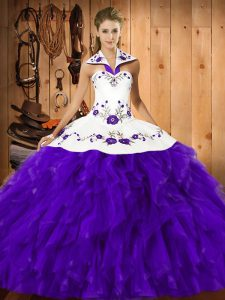 Floor Length Purple Quince Ball Gowns Satin and Organza Sleeveless Embroidery and Ruffles