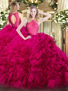 Great Floor Length Zipper Quinceanera Gowns Hot Pink for Military Ball and Sweet 16 and Quinceanera with Lace