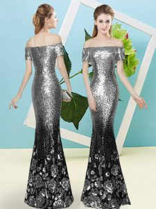 New Arrival Short Sleeves Sequined Floor Length Zipper Prom Party Dress in Silver with Sequins