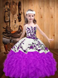 Floor Length Purple Pageant Dress Toddler Straps Sleeveless Lace Up