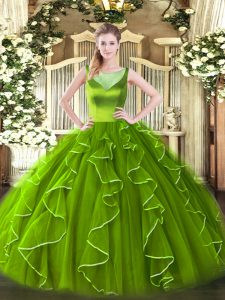 Sleeveless Organza Floor Length Side Zipper Sweet 16 Dress in with Beading and Ruffles