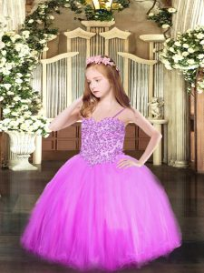 Wonderful Sleeveless Tulle Floor Length Lace Up Pageant Gowns For Girls in Lilac with Appliques