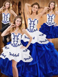 Embroidery and Ruffles Ball Gown Prom Dress Blue Lace Up Sleeveless Floor Length