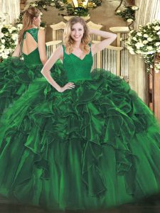 Organza Sleeveless Floor Length Juniors Party Dress and Beading and Ruffles