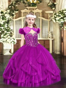 Fuchsia Ball Gowns Beading and Ruffles Little Girls Pageant Dress Lace Up Tulle Sleeveless Floor Length
