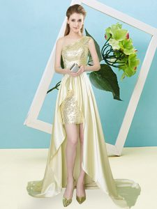 Stunning High Low Lace Up Dress for Prom Light Yellow for Prom and Party with Sequins