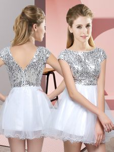 White A-line Tulle Scoop Cap Sleeves Sequins Mini Length Zipper Dama Dress for Quinceanera
