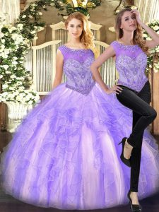 Elegant Tulle Scoop Sleeveless Zipper Beading and Ruffles 15th Birthday Dress in Lilac