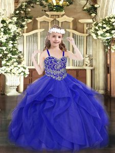 Floor Length Ball Gowns Sleeveless Blue Pageant Dress for Girls Lace Up
