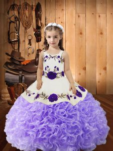 Lavender Straps Lace Up Embroidery and Ruffles Little Girls Pageant Dress Wholesale Sleeveless