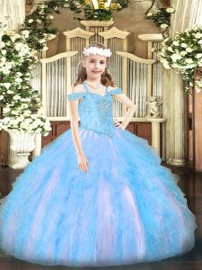 Floor Length Lace Up Little Girl Pageant Dress Baby Blue for Party and Quinceanera with Beading and Ruffles