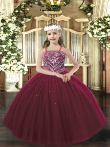 Tulle Straps Sleeveless Lace Up Beading Pageant Dress in Burgundy