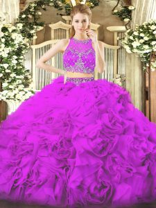 Dramatic Lilac Quinceanera Gown Military Ball and Sweet 16 and Quinceanera with Beading Scoop Sleeveless Zipper