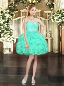 Exceptional Organza Sleeveless Mini Length and Beading and Lace and Ruffles