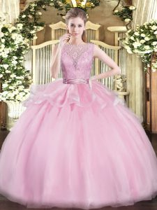 Ideal Sleeveless Organza Floor Length Backless Quinceanera Gowns in Baby Pink with Lace