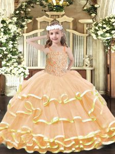 Organza Straps Sleeveless Lace Up Beading and Ruffled Layers Little Girls Pageant Gowns in Peach