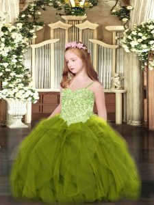 Fancy Olive Green Sleeveless Tulle Lace Up Child Pageant Dress for Party and Quinceanera