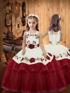 Super Wine Red Organza Lace Up Kids Formal Wear Sleeveless Floor Length Embroidery and Ruffled Layers