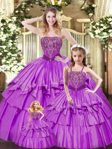 Custom Designed Lilac Sleeveless Organza Lace Up 15 Quinceanera Dress for Military Ball and Sweet 16 and Quinceanera