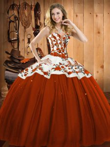 Sophisticated Rust Red Ball Gowns Satin and Tulle Sweetheart Sleeveless Embroidery Floor Length Lace Up Quinceanera Dress