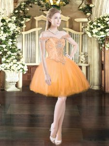 Stylish Orange Red Lace Up Off The Shoulder Beading Prom Gown Tulle Sleeveless