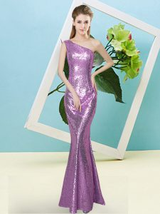 Beauteous Floor Length Mermaid Sleeveless Lilac Prom Gown Zipper