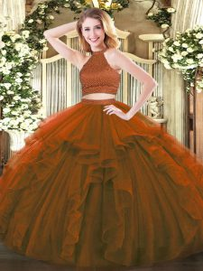 Brown Backless Halter Top Beading and Ruffles Ball Gown Prom Dress Tulle Sleeveless