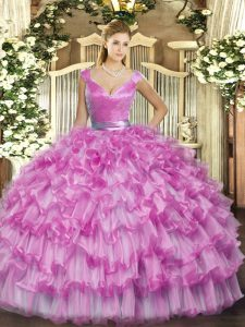 Lilac V-neck Zipper Ruffled Layers 15 Quinceanera Dress Sleeveless