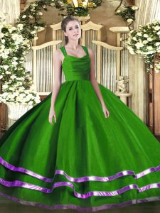 Customized Ball Gowns 15th Birthday Dress Green Straps Organza Sleeveless Floor Length Zipper