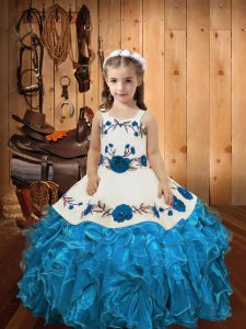 Baby Blue Lace Up Little Girls Pageant Gowns Embroidery and Ruffles Sleeveless Floor Length