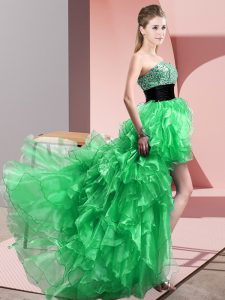 Green Organza Lace Up Prom Dresses Sleeveless High Low Beading and Ruffles