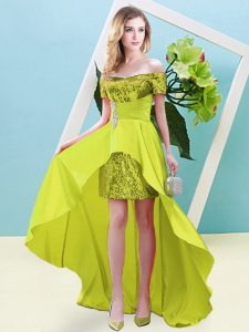 Elastic Woven Satin and Sequined Off The Shoulder Short Sleeves Lace Up Beading in Yellow