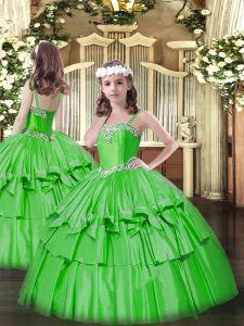 Green Lace Up Straps Beading and Ruffled Layers Pageant Dress Womens Organza and Taffeta Sleeveless