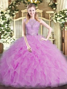 Tulle Scoop Sleeveless Backless Beading and Ruffles Vestidos de Quinceanera in Lilac