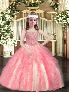 Hot Sale Floor Length Watermelon Red Child Pageant Dress Tulle Sleeveless Beading and Ruffles