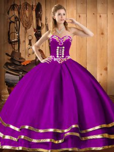 Purple Quinceanera Dresses Military Ball and Sweet 16 and Quinceanera with Embroidery Sweetheart Sleeveless Lace Up