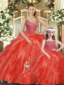 Dazzling Sleeveless Beading and Ruffles Lace Up Quinceanera Gown