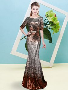 Custom Fit Scoop Half Sleeves Prom Evening Gown Floor Length Sequins and Belt Multi-color Sequined