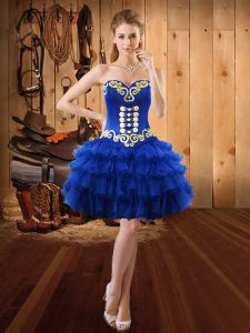 Stylish Sleeveless Mini Length Embroidery and Ruffled Layers Lace Up Prom Gown with Royal Blue