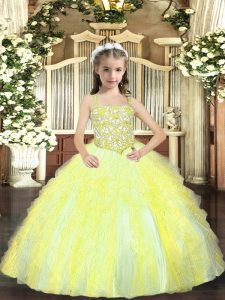 Exquisite Yellow Green Lace Up Straps Beading and Ruffles Pageant Gowns Tulle Sleeveless